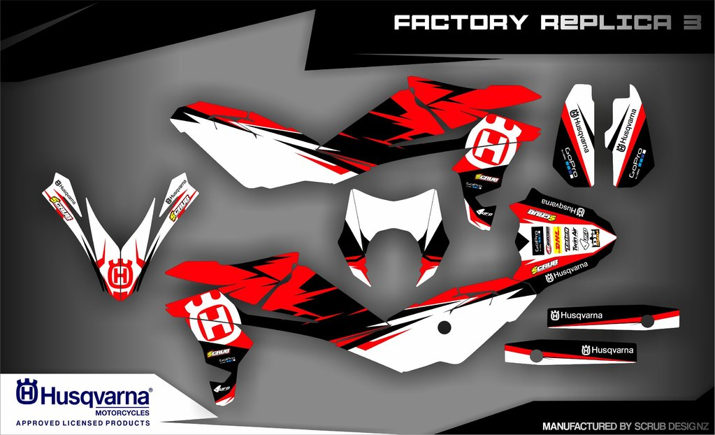 husqvarna italy lizenzierte dekore mx kingz motocross shop. Black Bedroom Furniture Sets. Home Design Ideas