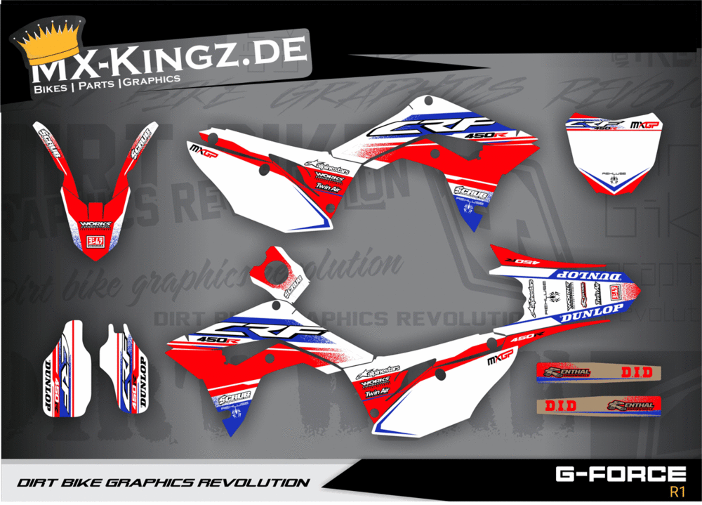 G-FORCE R1 Honda CRF 450 2017 2018 - WP - GRAPHIC KIT DECALS DESIGN  STICKERS MX